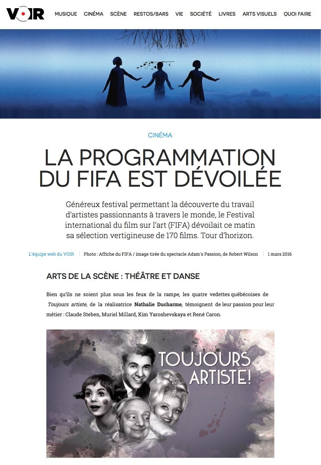 toujours artiste de nathalie ducharme au fifa - 34e festival international du film sur l'art de montréal