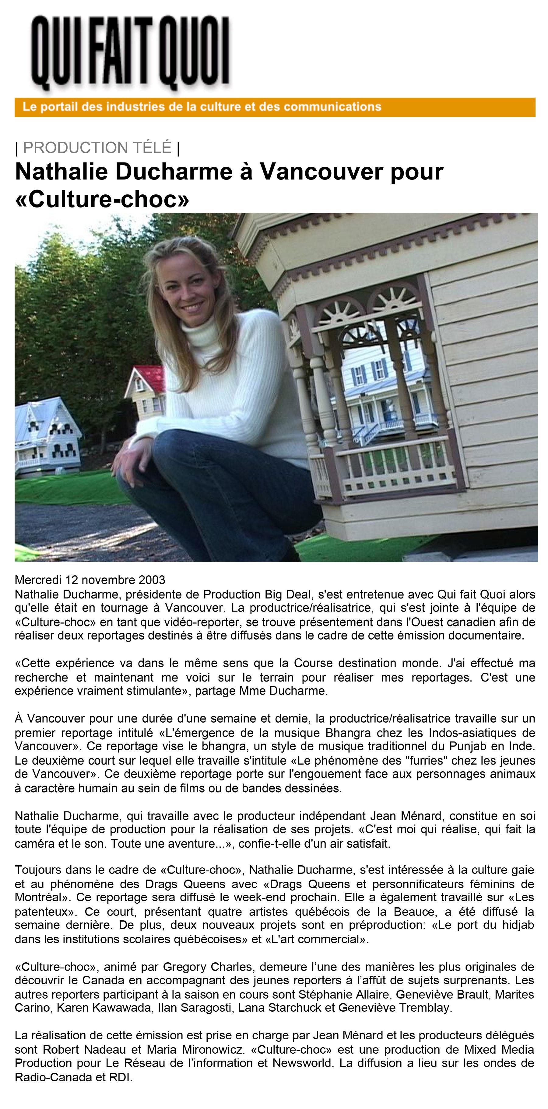 Nathalie Ducharme - réalisatrice journaliste et vidéo-reporter pour culture choc